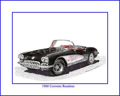 Corvette Drawing - 1960 Corvette Convertible by Jack Pumphrey
