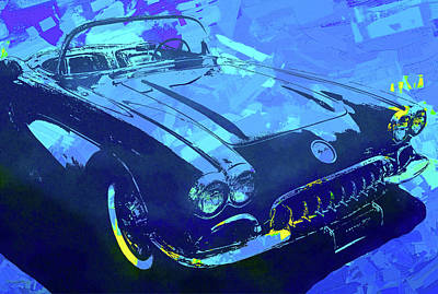 Digital Art - 1960 Corvette Pop Blue by David King
