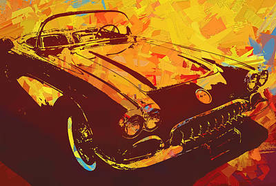 Digital Art - 1960 Corvette Pop Red by David King