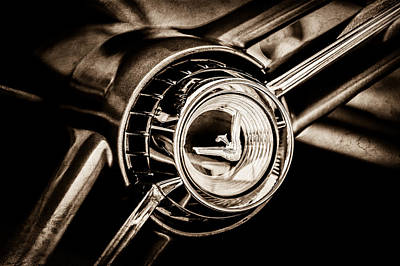 Photograph - 1960 Desoto Fireflite Two-door Hardtop Steering Wheel Emblem -0950s by Jill Reger