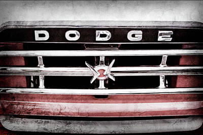 Art Print featuring the photograph 1960 Dodge Truck Grille Emblem -0275ac by Jill Reger