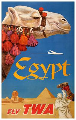 Sphinx Digital Art - 1960 Egypt Twa David Klein Travel Poster  by Retro Graphics