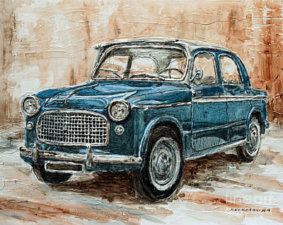 Fiat Car Painting - 1960 Fiat 1100 103 H by Joey Agbayani