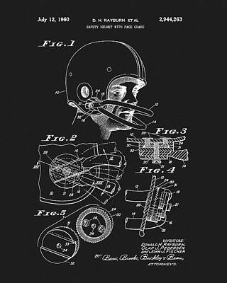 Drawing - 1960 Football Helmet Patent by Dan Sproul