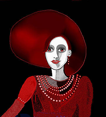 Digital Art - 1960 - Lady In Red With Milky White Face 2017 by Irmgard Schoendorf Welch