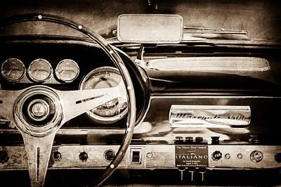 Photograph - 1960 Maserati 3500 Gt Spyder Steering Wheel Emblem -0407s by Jill Reger