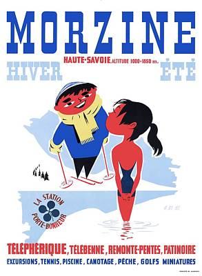 1960 Morzine France Resort Travel Poster Art Print