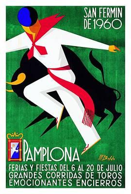Bullfight Digital Art - 1960 Pamplona Spain Running Of The Bulls Poster by Retro Graphics