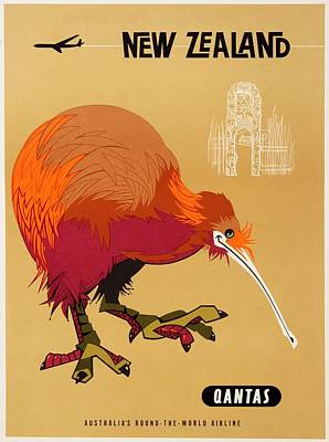 Kiwi Digital Art - 1960 Qantas New Zealand Kiwi Travel Poster by Retro Graphics