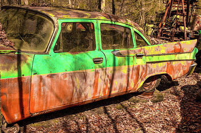 Photograph - 1960 S Car Abandoned In Woods by Douglas Barnett