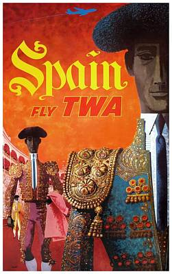Torero Wall Art - Digital Art - 1960 Twa Spain Bullfighter Travel Poster by Retro Graphics