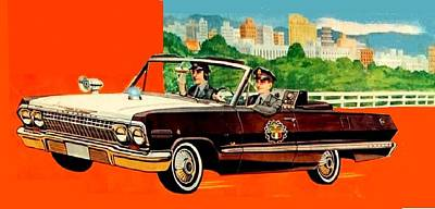 Painting - 1960's Convertible Cop Car by Dwight Goss