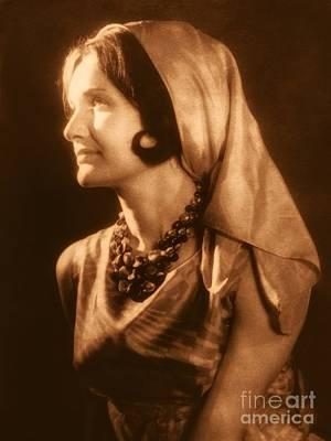 Photograph - 1960's Model Portrait Golden Sepia by Joan-Violet Stretch