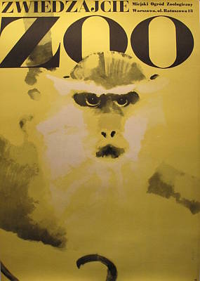 1960s Original Polish Zoo Poster Of Monkey By Swierzy Original by Waldermar Swierzy