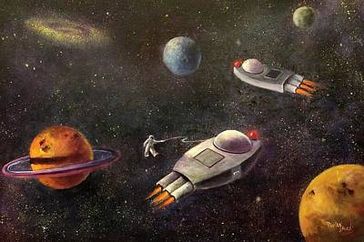 Painting - 1960s Outer Space Adventure by Randol Burns
