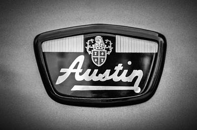 Photograph - 1961 Austin Mini Emblem -0953bw by Jill Reger