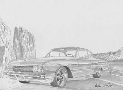 Buick Drawing - 1961 Buick Lesabre Bubbletop Classic Car Art Print by Stephen Rooks
