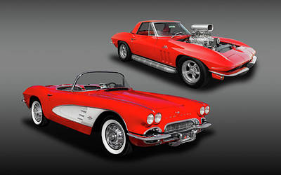 Photograph - 1961 C1 And 1965 C2 Chevrolet Corvette  -  61-65vette4049 by Frank J Benz