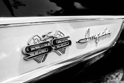 Photograph - 1961 Chevrolet Bel Air Impala Ss Bubble Top Side Emblem -0242bw by Jill Reger