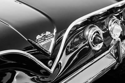 Photograph - 1961 Chevrolet Bel Air Impala Ss Bubble Top Tail Light Emblem -0249bw by Jill Reger