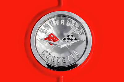 Photograph - 1961 Chevrolet C1 Corvette Read Deck Emblem  -  61vettteemblem9664 by Frank J Benz