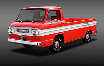 Art Print featuring the photograph 1961 Chevrolet Corvair Rampside Truck  -  1961chevcorvairrampsidefa172180 by Frank J Benz