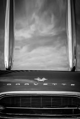 Classic Corvette Photograph - 1961 Chevrolet Corvette Grille Emblem -1121bw by Jill Reger