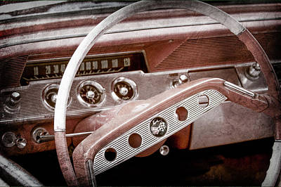 Art Print featuring the photograph 1961 Chevrolet Impala Ss Steering Wheel Emblem -1156ac by Jill Reger