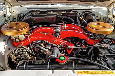 Photograph - 1961 Chrysler 300g Engine Compartment  -  1961chrysler300g413crossram184373 by Frank J Benz