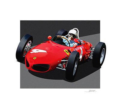 1961 Ferrari Formula 1 Illustration Original by Alain Jamar