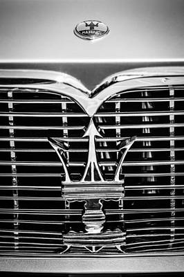 Photograph - 1961 Maserati 3500 Gt Coupe Speciale Grille Emblem -0995bw by Jill Reger