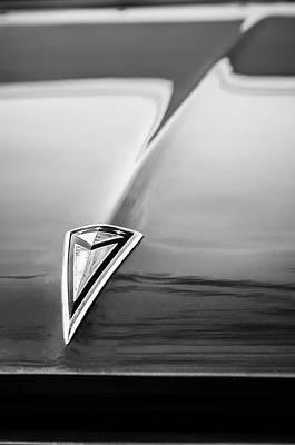 Classic Pontiac Photograph - 1961 Pontiac Catalina Hood Emblem -0208bw by Jill Reger