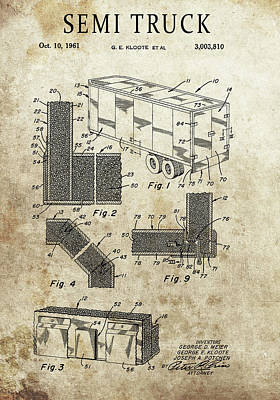 Drawing - 1961 Semi Truck Patent by Dan Sproul