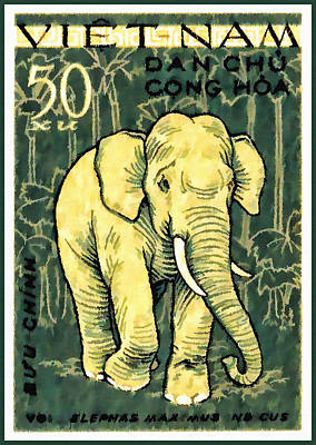 Bamboo Chair Painting - 1961 Vietnam Elephant Postage Stamp by Lanjee Chee