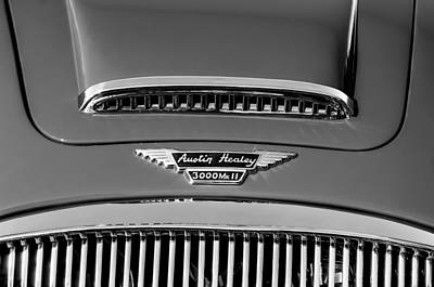 Photograph - 1962 Autsin Healey 3000 Mk II Hood Emblem -0324bw by Jill Reger