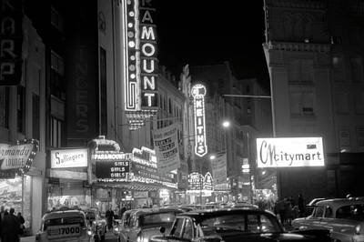 Photograph - 1962 Boston's Theater District At Night by Historic Image