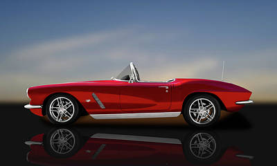 Photograph - 1962 C1 Chevrolet Corvette  -  1962c1vetteconvertreflect149856 by Frank J Benz
