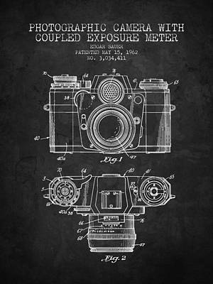 1962 Camera Patent - Charcoal - Nb Art Print
