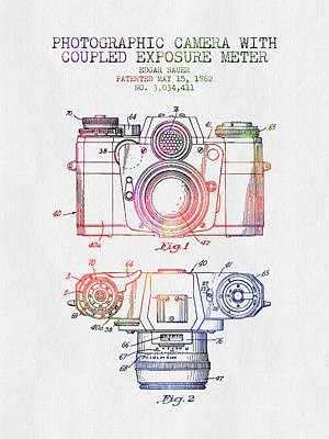 Camera Digital Art - 1962 Camera Patent - Color by Aged Pixel
