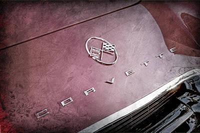 1962 Chevrolet Corvette Hood Emblems -0049ac Art Print by Jill Reger