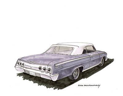Wash Drawing - 1962 Chevrolet Impala S S 392 Convertible by Jack Pumphrey