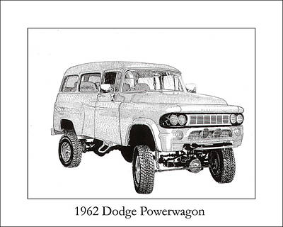 Old Car Drawing - 1962 Dodge Powerwagon by Jack Pumphrey