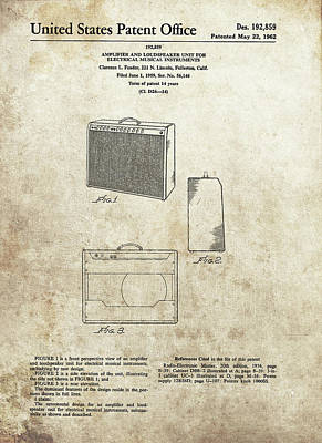 Musicians Drawings - 1962 Fender Amplifier Patent by Dan Sproul