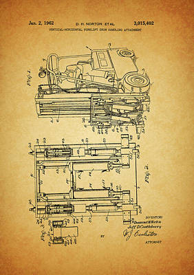 Lift Truck Mixed Media - 1962 Forklift Patent by Dan Sproul