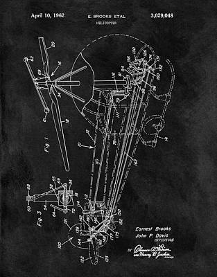 Helicopter Drawing - 1962 Helicopter Blueprint by Dan Sproul