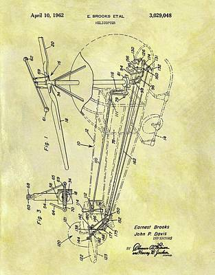 Helicopter Drawing - 1962 Helicopter Patent by Dan Sproul