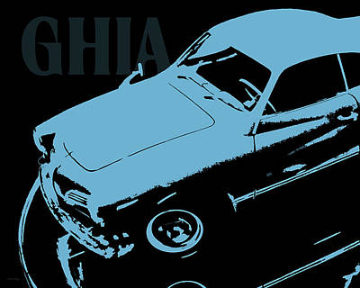 Digital Art - 1962 Karmann Ghia Pop Art Blue by David King