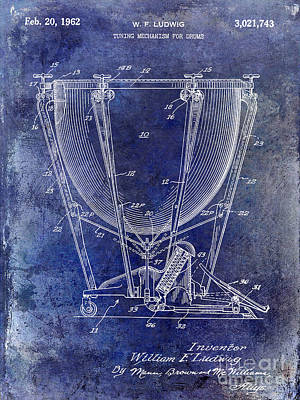 Ludwig Photograph - 1962 Ludwig Drum Patent Blue by Jon Neidert