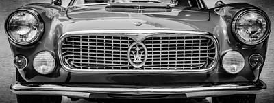 Photograph - 1962 Maserati 3500 Gt Spyder Grille Emblem -0009bw by Jill Reger