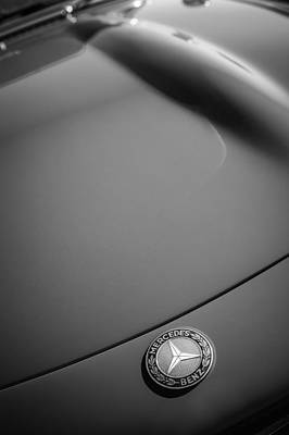 Mercedes Benz 300 Sl Classic Car Photograph - 1962 Mercedes-benz 300sl Roadster Emblem -0384bw by Jill Reger